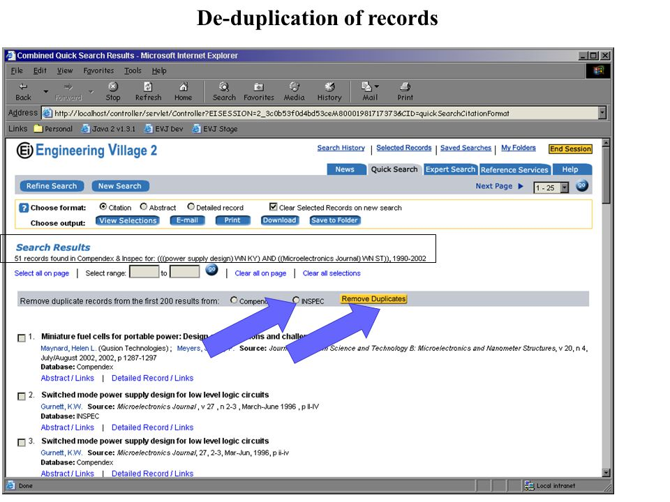 De-duplication of records