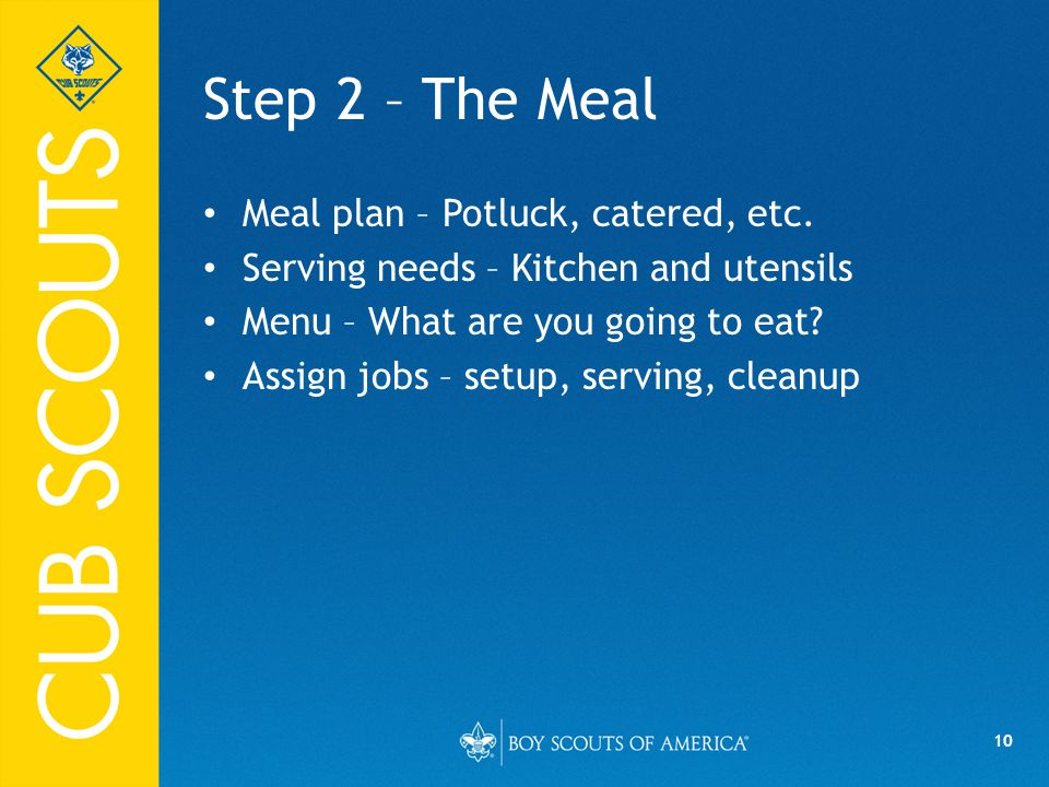 10 Step 2 – The Meal Meal plan – Potluck, catered, etc.