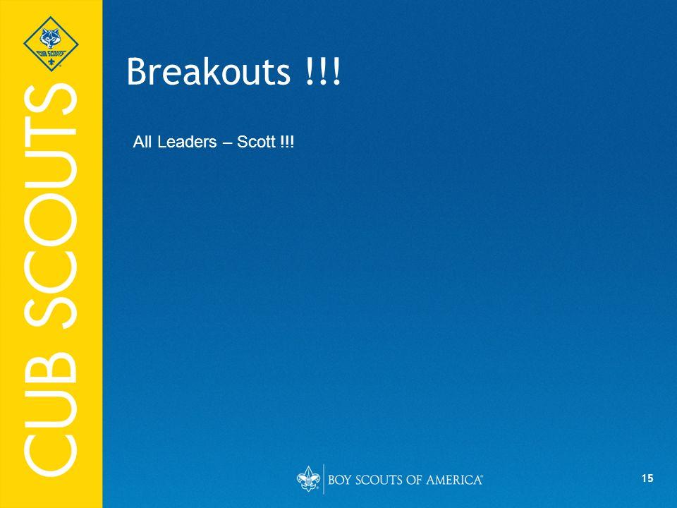 15 Breakouts !!! All Leaders – Scott !!!