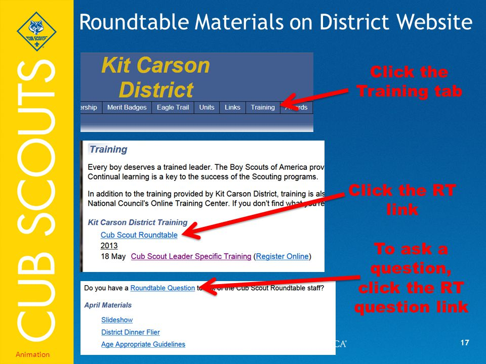 17 Roundtable Materials on District Website Click the Training tab Click the RT link To ask a question, click the RT question link Animation