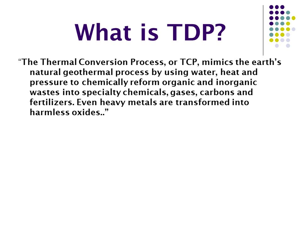Which company does TDP?