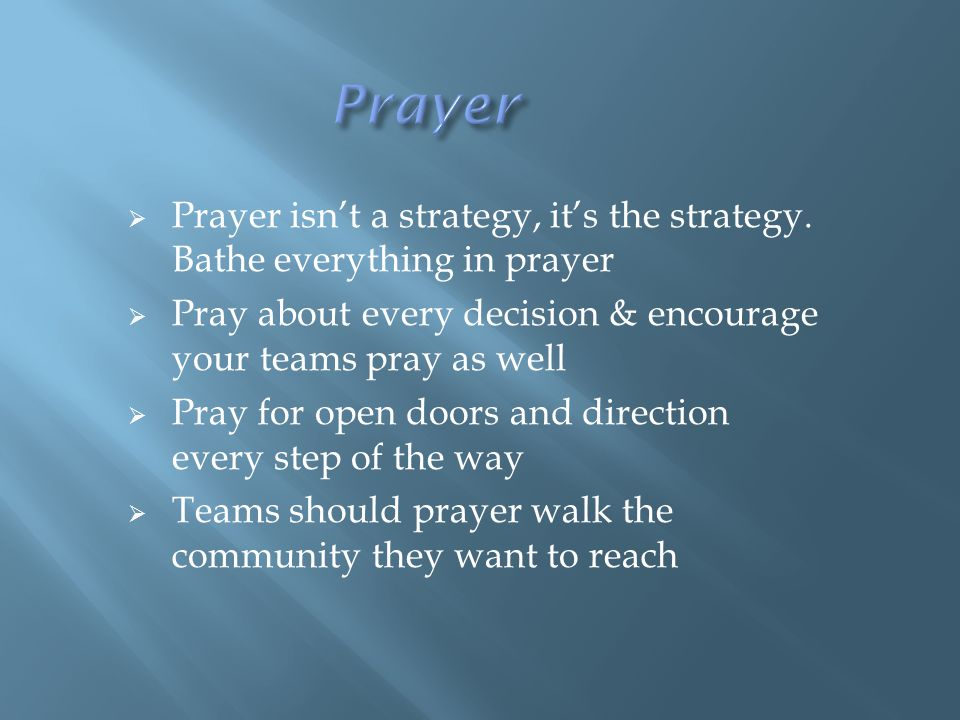  Prayer isn't a strategy, it's the strategy.