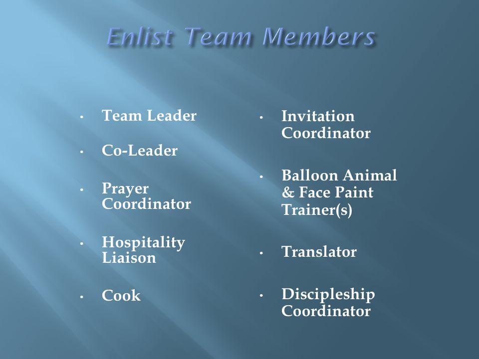 Team Leader Co-Leader Prayer Coordinator Hospitality Liaison Cook Invitation Coordinator Balloon Animal & Face Paint Trainer(s) Translator Discipleship Coordinator