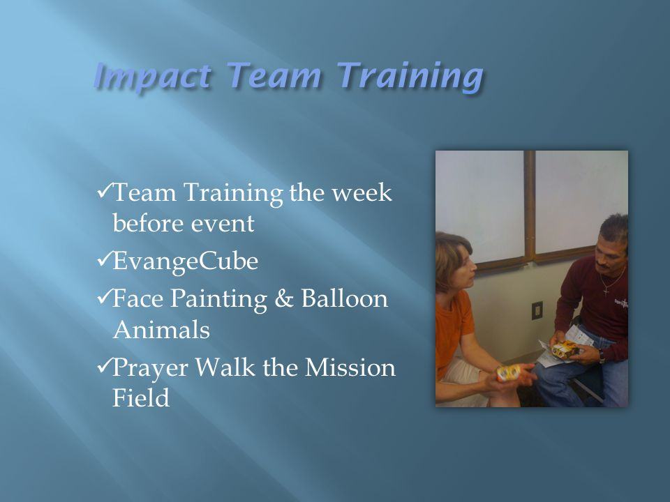 Team Training the week before event EvangeCube Face Painting & Balloon Animals Prayer Walk the Mission Field
