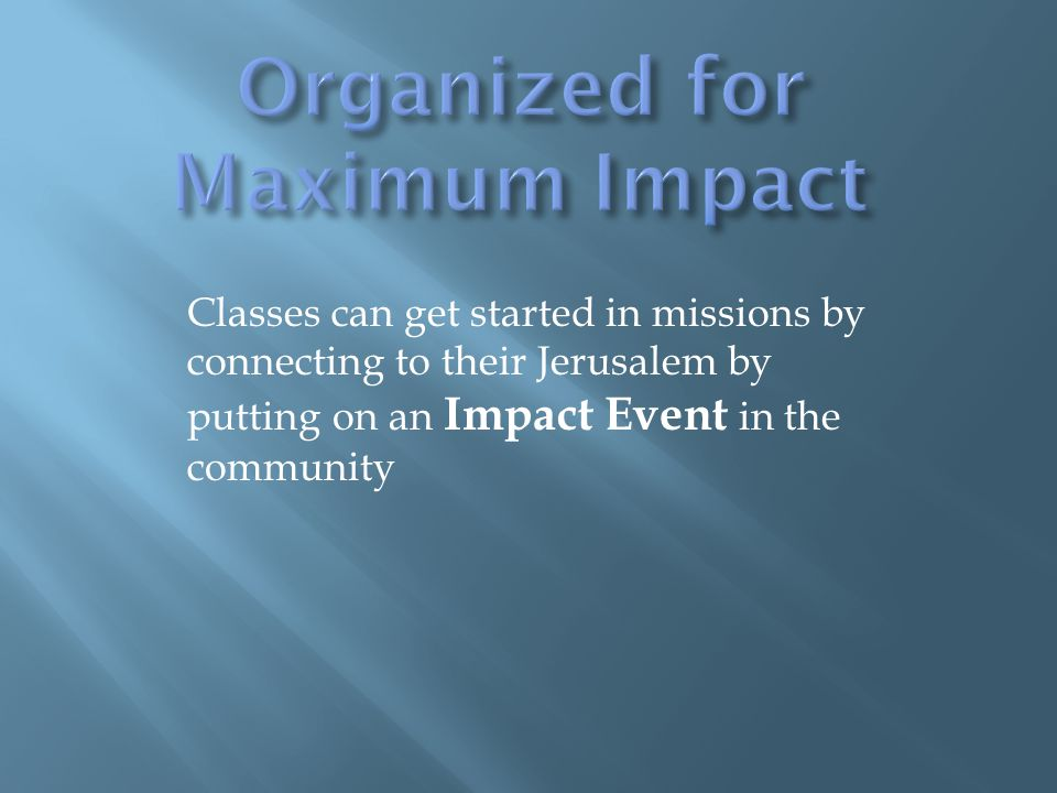 Classes can get started in missions by connecting to their Jerusalem by putting on an Impact Event in the community