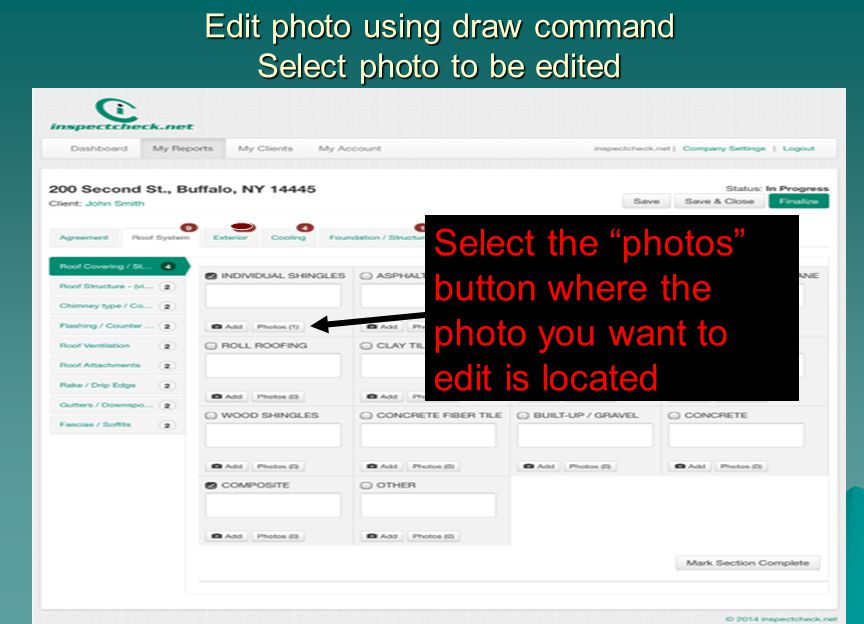 "Edit photo using draw command Select photo to be edited Select the ""photos"" button where the photo you want to edit is located"