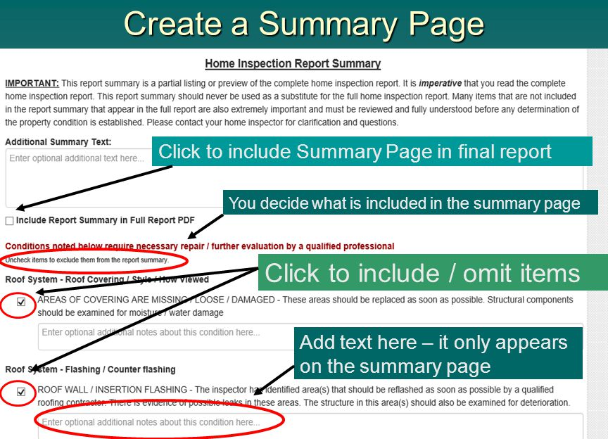 Create a Summary Page Click to include Summary Page in final report Click to include / omit items You decide what is included in the summary page Add