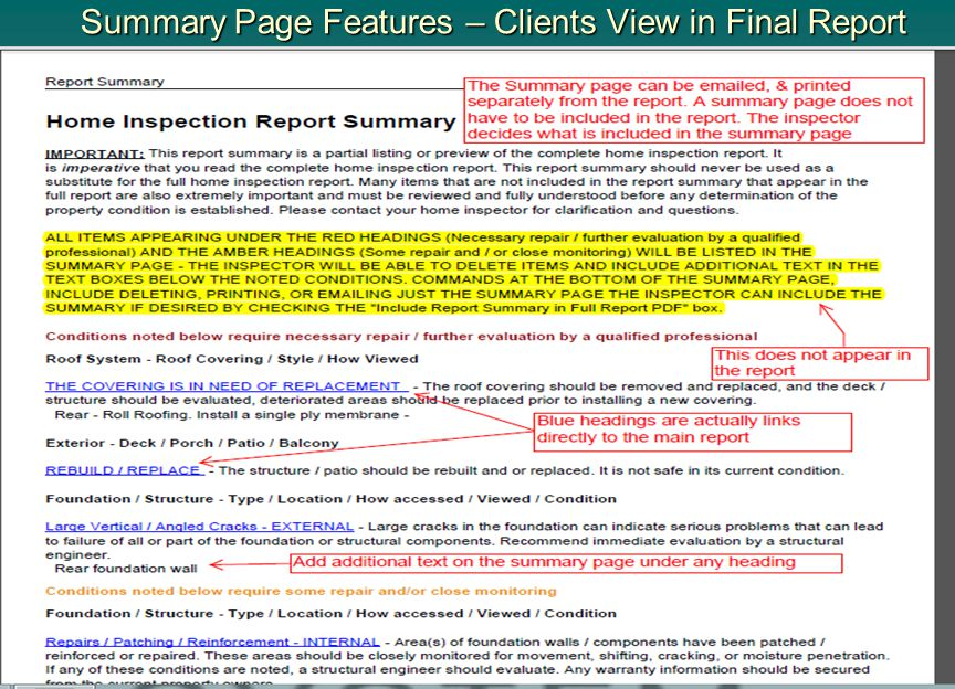 Summary Page Features – Clients View in Final Report