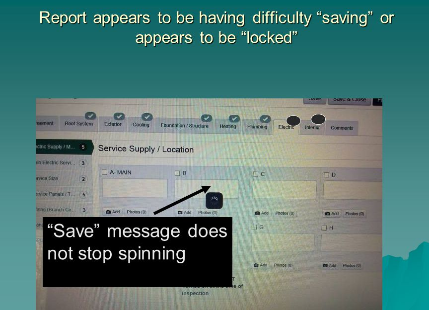 "Report appears to be having difficulty ""saving"" or appears to be ""locked"" ""Save"" message does not stop spinning"