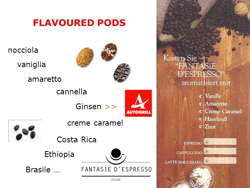 FLAVOURED PODS nocciola vaniglia amaretto cannella Ginsen >> creme caramel Costa Rica Ethiopia Brasile …