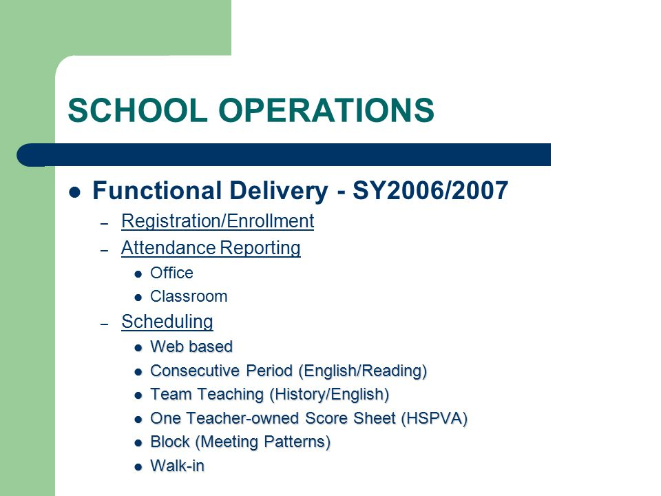 SCHOOL OPERATIONS Functional Delivery - SY2006/2007 – Registration/Enrollment – Attendance Reporting Office Classroom – Scheduling Web based Web based Consecutive Period (English/Reading) Consecutive Period (English/Reading) Team Teaching (History/English) Team Teaching (History/English) One Teacher-owned Score Sheet (HSPVA) One Teacher-owned Score Sheet (HSPVA) Block (Meeting Patterns) Block (Meeting Patterns) Walk-in Walk-in