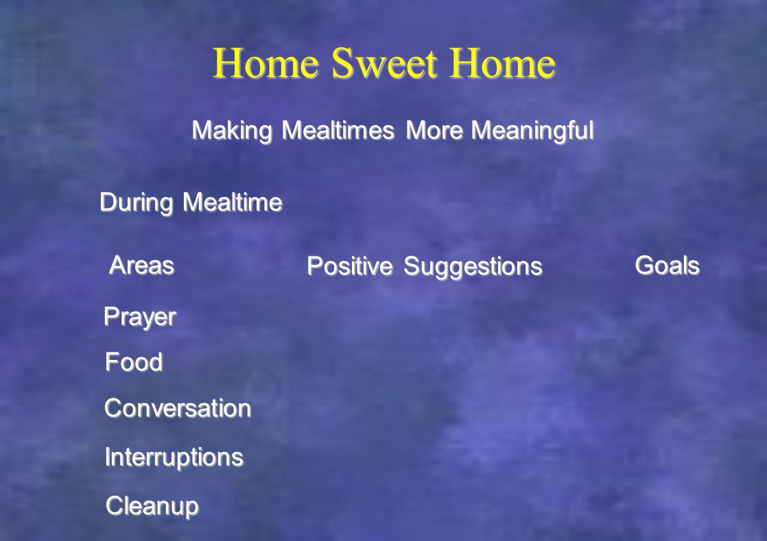 Home Sweet Home During Mealtime Making Mealtimes More Meaningful Areas Positive Suggestions Goals Prayer Food Conversation Interruptions Cleanup