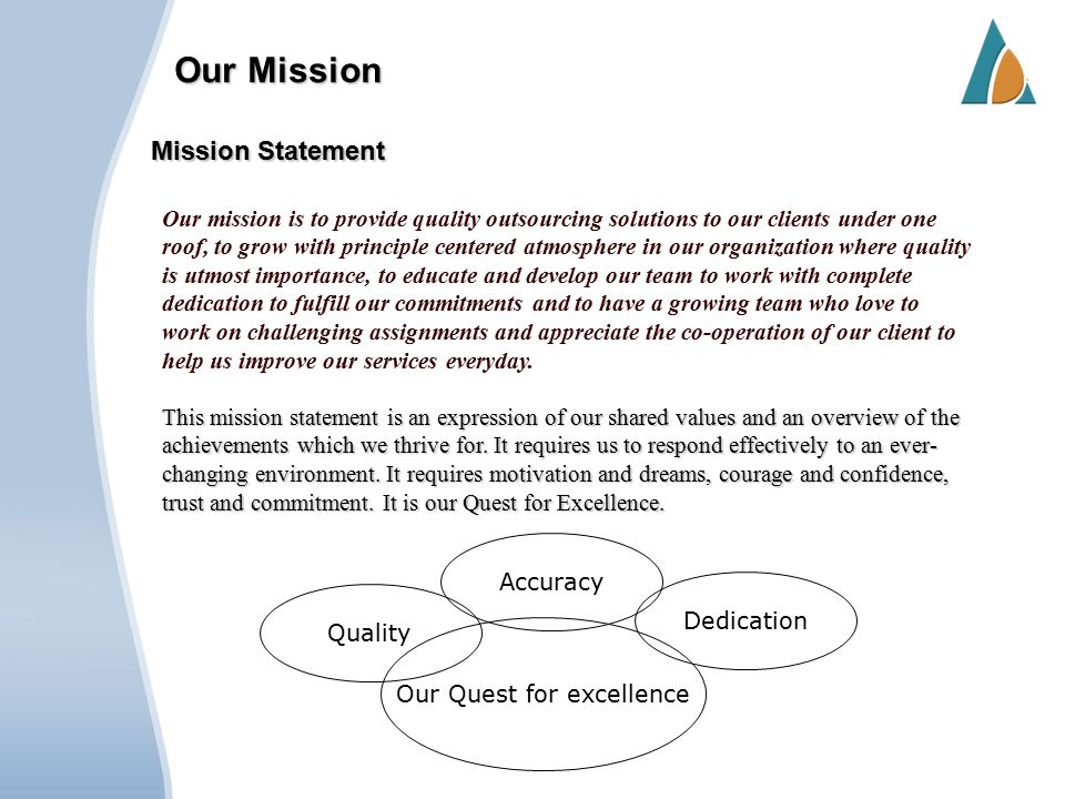 Our Mission This mission statement is an expression of our shared values and an overview of the achievements which we thrive for.