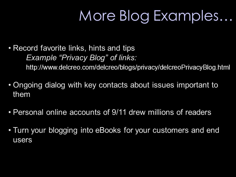 """Record favorite links, hints and tips Example """"Privacy Blog"""" of links: http://www.delcreo.com/delcreo/blogs/privacy/delcreoPrivacyBlog.html Ongoing di"""
