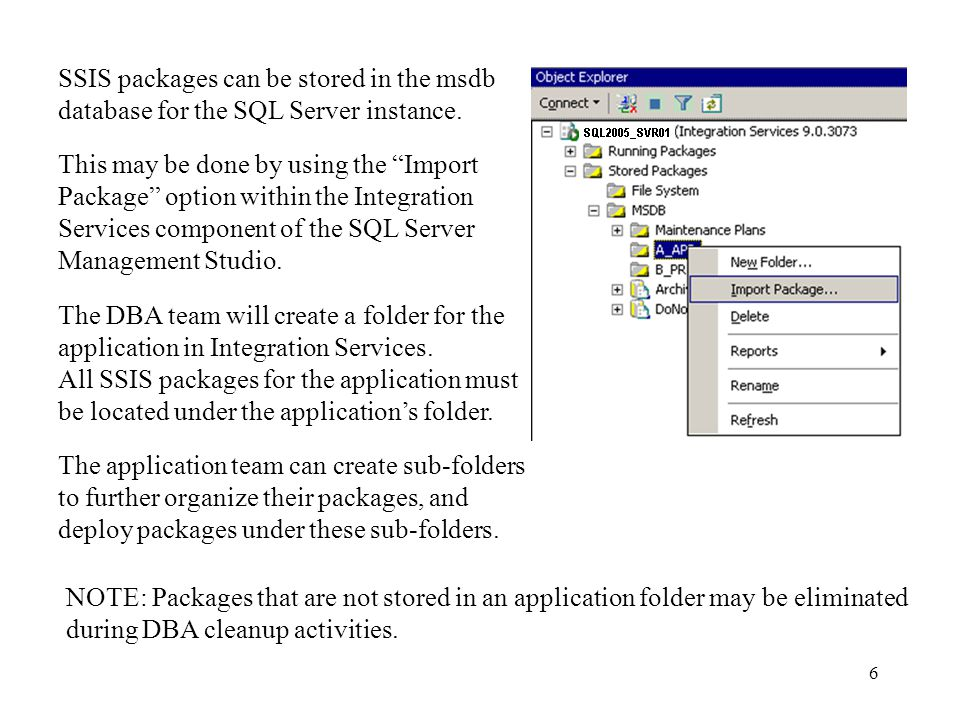 6 SSIS packages can be stored in the msdb database for the SQL Server instance.