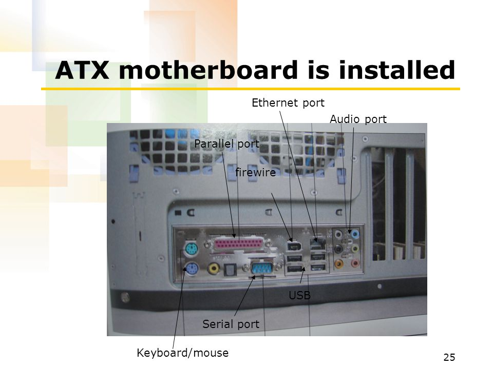 25 ATX motherboard is installed Keyboard/mouse Serial port USB Parallel port Ethernet port firewire Audio port