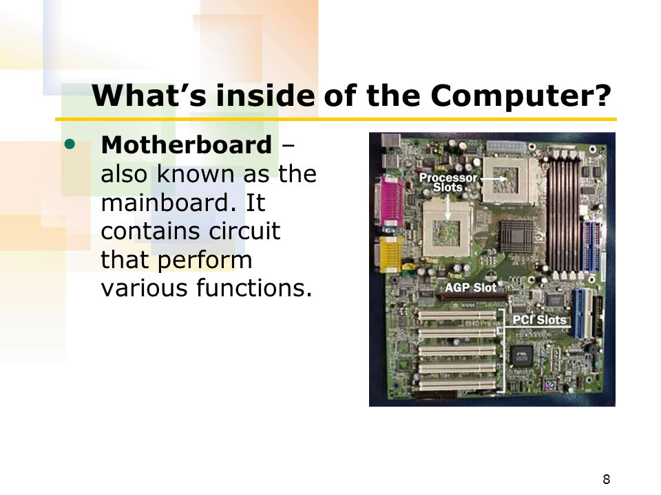 8 What's inside of the Computer.Motherboard – also known as the mainboard.