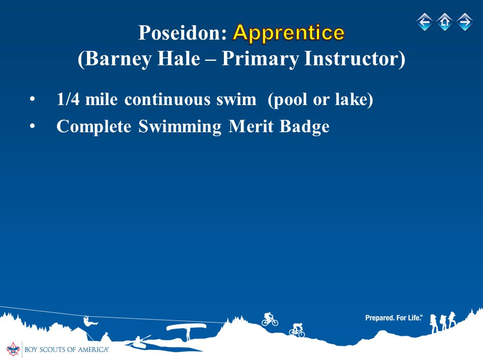 1/4 mile continuous swim (pool or lake) Complete Swimming Merit Badge