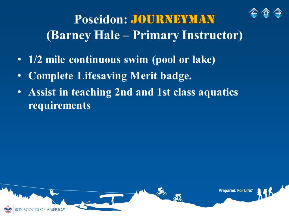 1/2 mile continuous swim (pool or lake) Complete Lifesaving Merit badge.