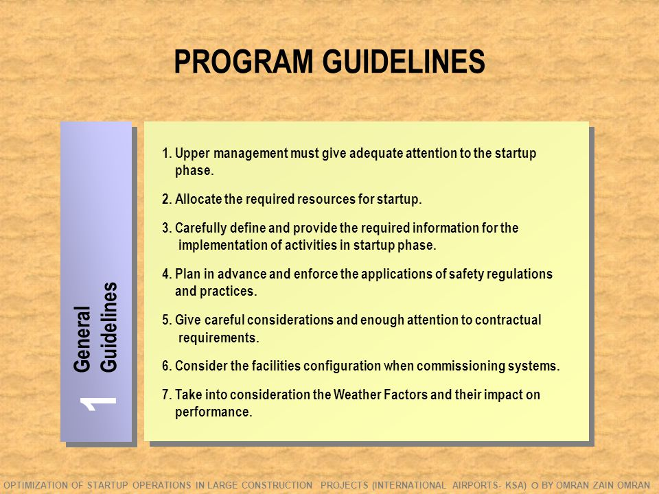 PROGRAM GUIDELINES General Guidelines 1 1.