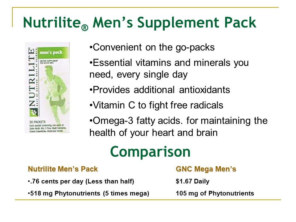 Nutrilite ® Men's Supplement Pack Convenient on the go-packs Essential vitamins and minerals you need, every single day Provides additional antioxidants Vitamin C to fight free radicals Omega-3 fatty acids.