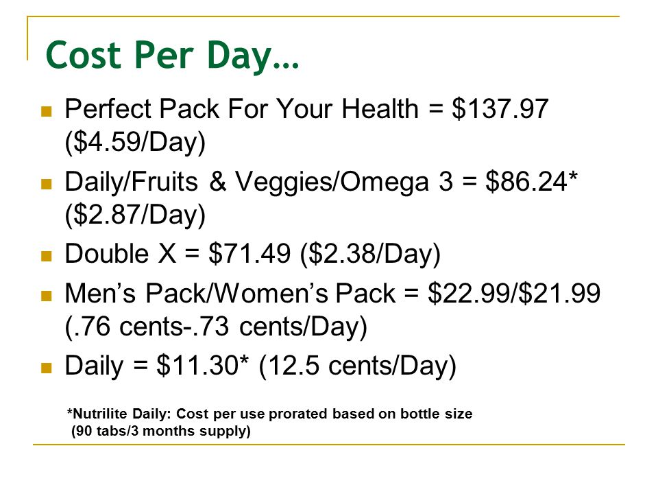 Cost Per Day… Perfect Pack For Your Health = $137.97 ($4.59/Day) Daily/Fruits & Veggies/Omega 3 = $86.24* ($2.87/Day) Double X = $71.49 ($2.38/Day) Me