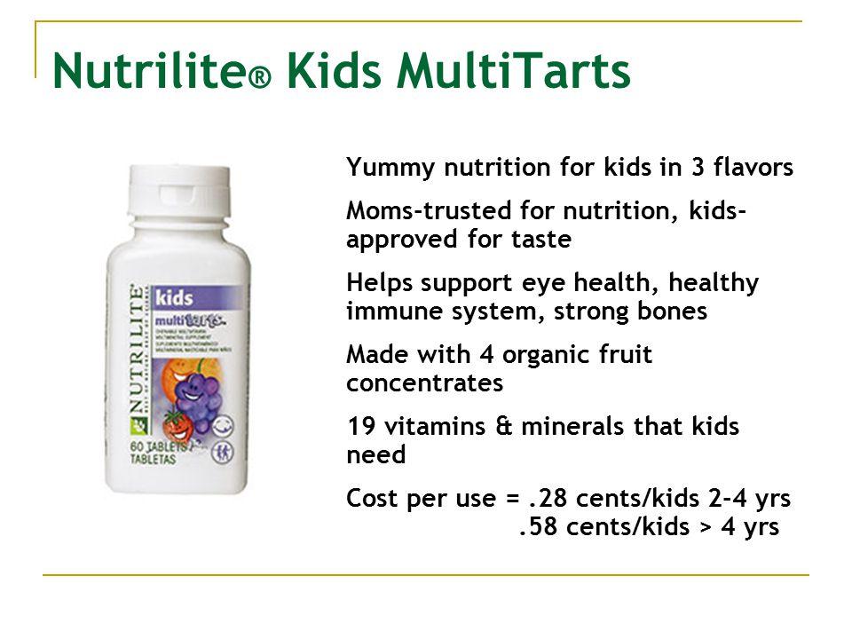 Nutrilite ® Kids MultiTarts Yummy nutrition for kids in 3 flavors Moms-trusted for nutrition, kids- approved for taste Helps support eye health, healt