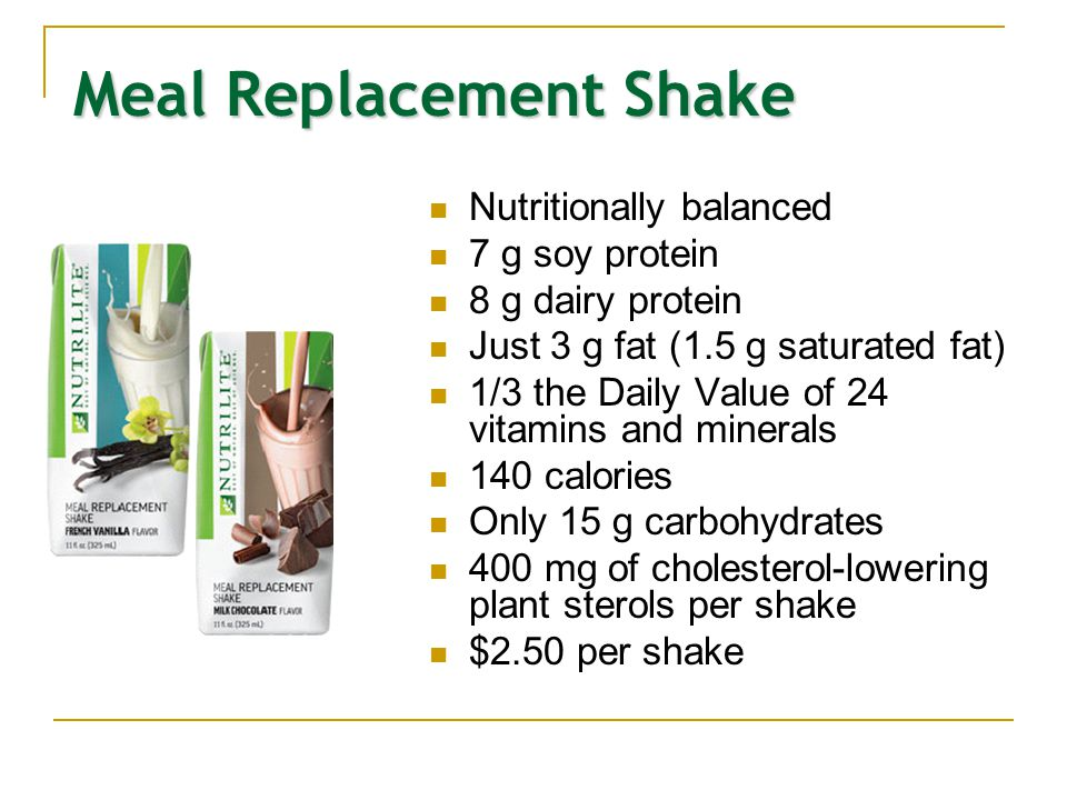 Meal Replacement Shake Nutritionally balanced 7 g soy protein 8 g dairy protein Just 3 g fat (1.5 g saturated fat) 1/3 the Daily Value of 24 vitamins
