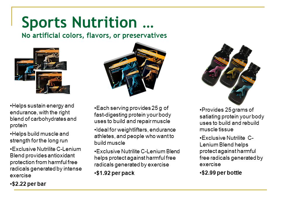 Sports Nutrition … No artificial colors, flavors, or preservatives Provides 25 grams of satiating protein your body uses to build and rebuild muscle tissue Exclusive Nutrilite C- Lenium Blend helps protect against harmful free radicals generated by exercise $2.99 per bottle Each serving provides 25 g of fast-digesting protein your body uses to build and repair muscle Ideal for weightlifters, endurance athletes, and people who want to build muscle Exclusive Nutrilite C-Lenium Blend helps protect against harmful free radicals generated by exercise $1.92 per pack Helps sustain energy and endurance, with the right blend of carbohydrates and protein Helps build muscle and strength for the long run Exclusive Nutrilite C-Lenium Blend provides antioxidant protection from harmful free radicals generated by intense exercise $2.22 per bar