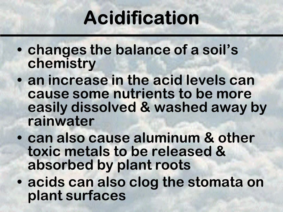 Acidification changes the balance of a soil's chemistry an increase in the acid levels can cause some nutrients to be more easily dissolved & washed a