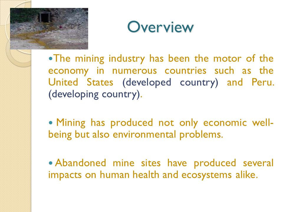 Overview The mining industry has been the motor of the economy in numerous countries such as the United States (developed country) and Peru.