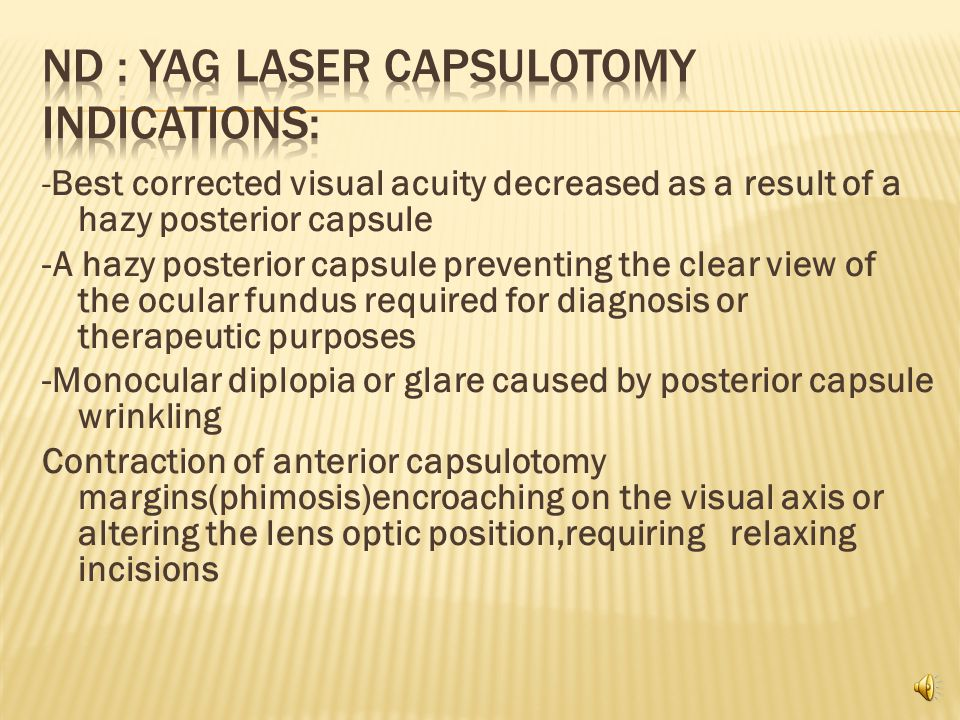 Use of the Nd:YAG laser is now a standard procedure for treating secondary opacification of the posterior capsule or anterior capsule contraction,although a dicission knife can be used through an ab externo corneal incision to open an opacified capsule in special cases.