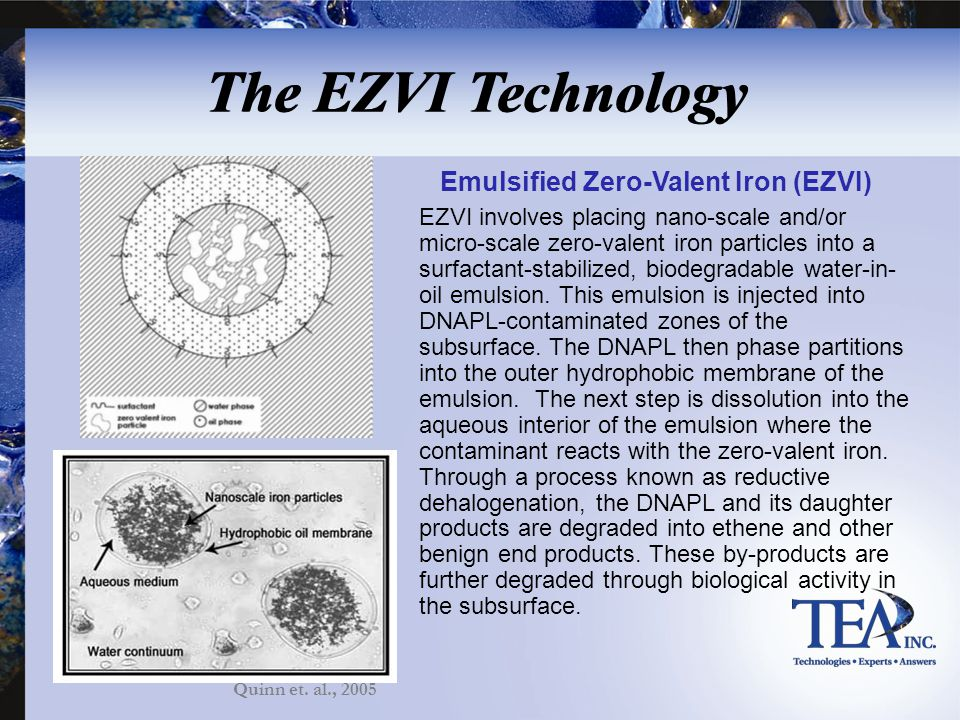 EZVI involves placing nano-scale and/or micro-scale zero-valent iron particles into a surfactant-stabilized, biodegradable water-in- oil emulsion. Thi