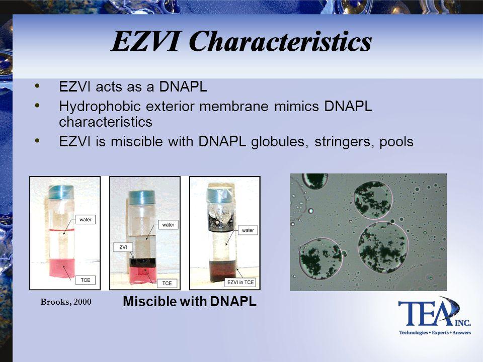 EZVI Characteristics EZVI acts as a DNAPL Hydrophobic exterior membrane mimics DNAPL characteristics EZVI is miscible with DNAPL globules, stringers,