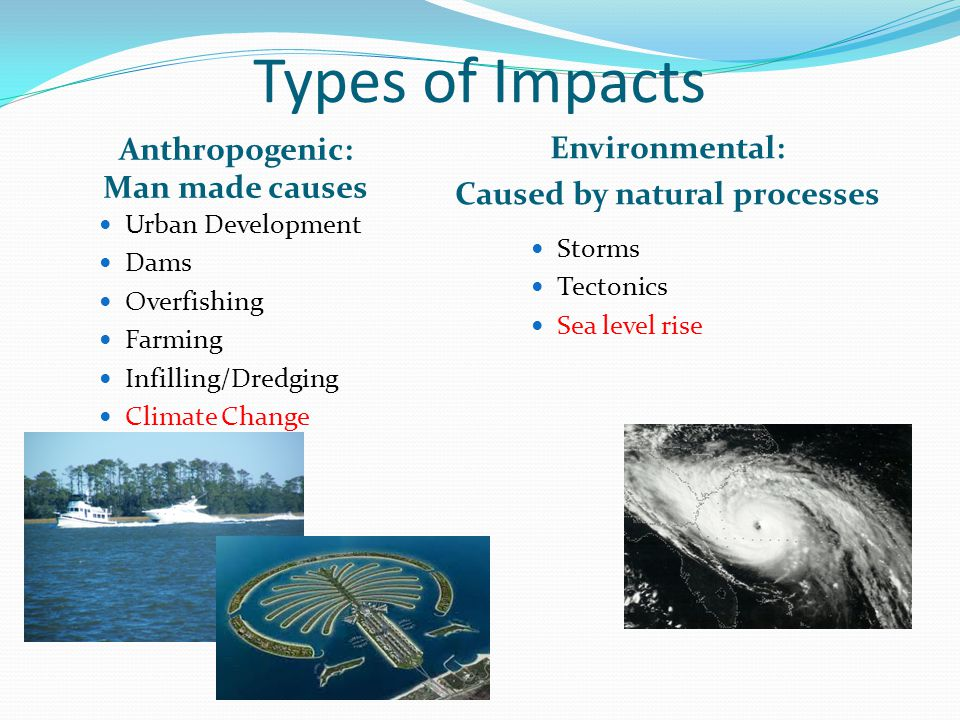 Types of Impacts Anthropogenic: Man made causes Environmental: Caused by natural processes Urban Development Dams Overfishing Farming Infilling/Dredging Climate Change Storms Tectonics Sea level rise