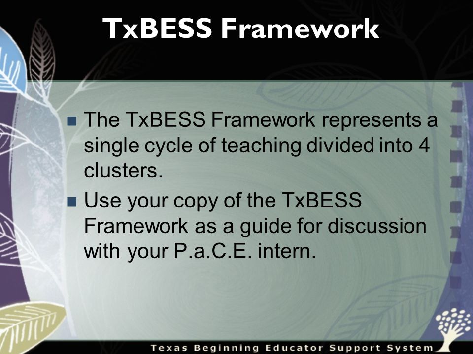 TxBESS Framework The TxBESS Framework represents a single cycle of teaching divided into 4 clusters.