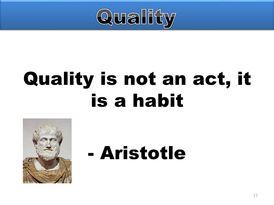 17 Quality is not an act, it is a habit - Aristotle