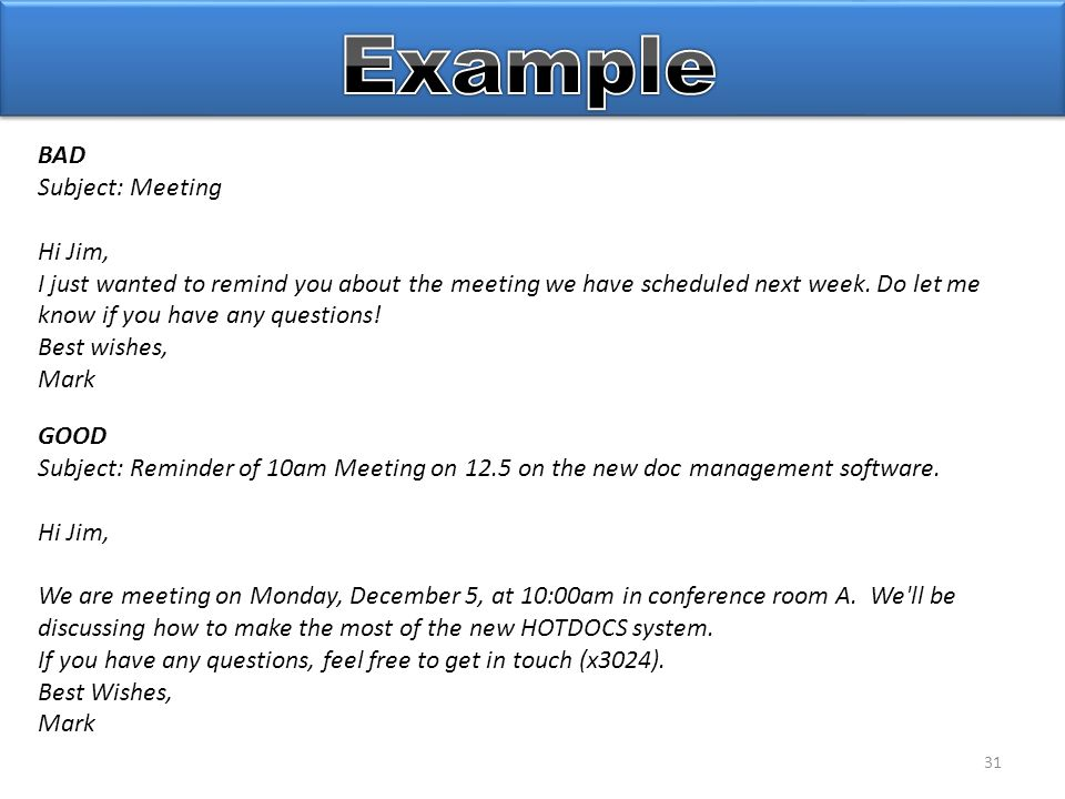 31 GOOD Subject: Reminder of 10am Meeting on 12.5 on the new doc management software.