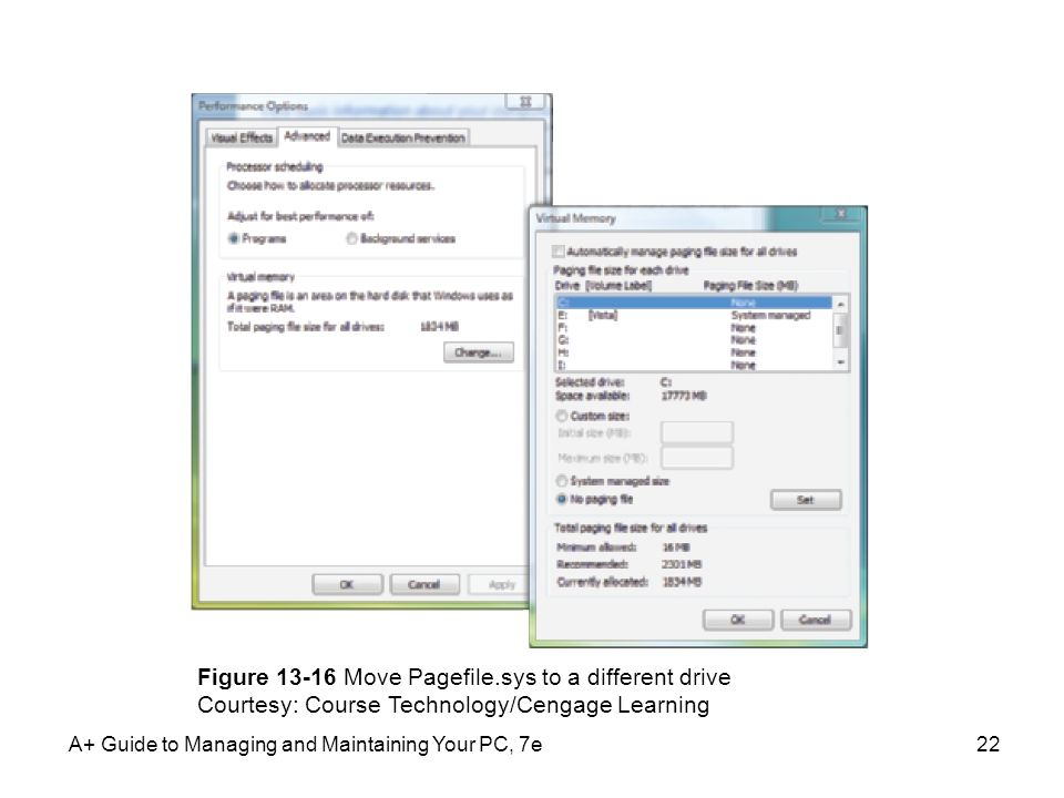 A+ Guide to Managing and Maintaining Your PC, 7e22 Figure 13-16 Move Pagefile.sys to a different drive Courtesy: Course Technology/Cengage Learning