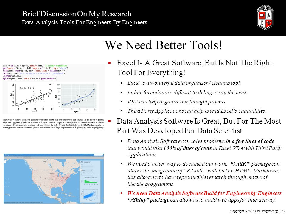Copyright © 2014 CEK Engineering LLC Brief Discussion On My Research Data Analysis Tools For Engineers By Engineers We Need Better Tools.