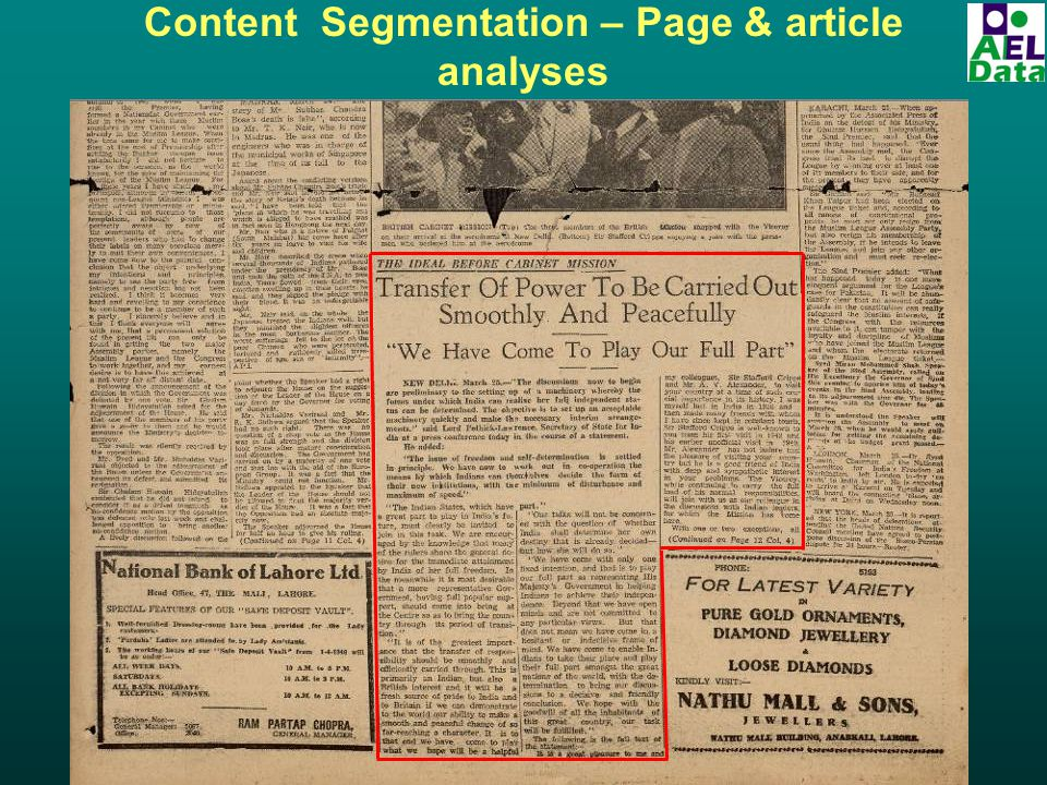 Content Segmentation – Page & article analyses