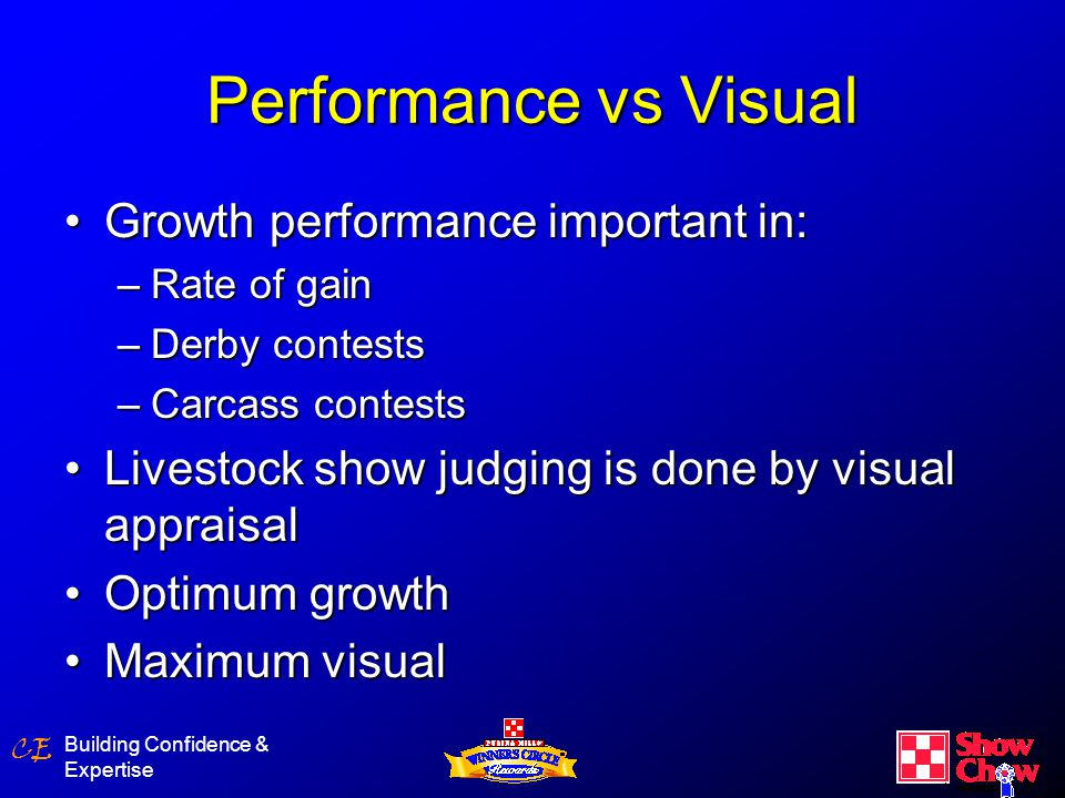 CE Building Confidence & Expertise Factors Affecting Visual Outcome SelectionSelection ManagementManagement NutritionNutrition ShowmanshipShowmanship