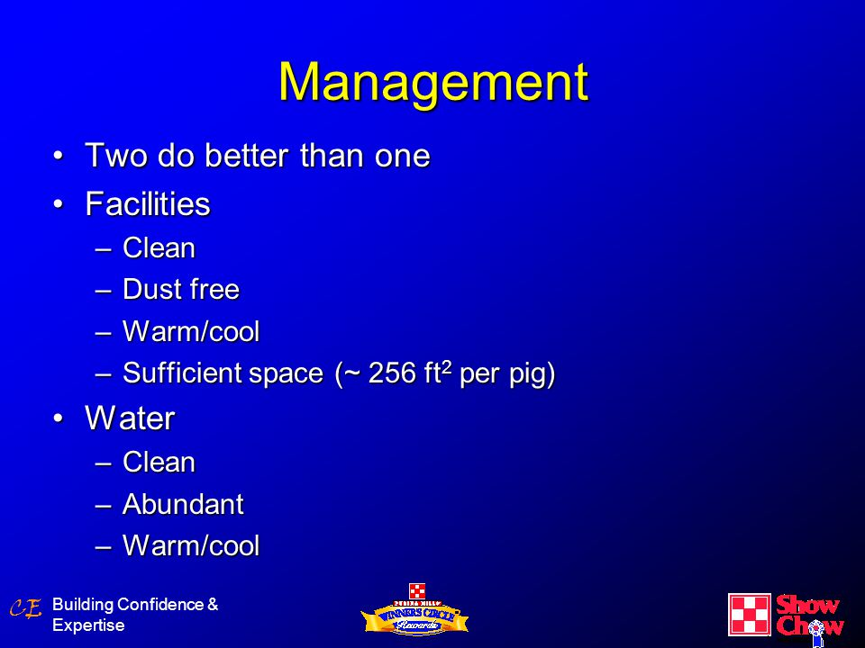 CE Building Confidence & Expertise Management ExerciseExercise –Train pig to show –Practice showing –Build muscle –Weight management ScalesScales Visual critiqueVisual critique