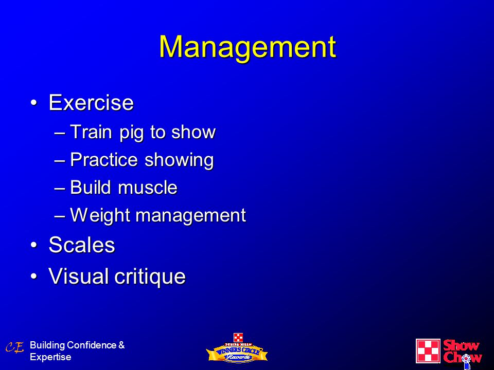 CE Building Confidence & Expertise Showpig Management Self vs hand feedingSelf vs hand feeding –Self – convenient –Maximum growth –Must check and interact with pigs daily –Self feed to 200 lbs then hand feed Hand feeding (entire period)Hand feeding (entire period) –Feed correct amounts –Up to 100 lbs – 3.5 – 5 lbs/day –100 – 150 lbs – 5 – 6 lbs/day –150 – show - 6 – 7 lbs /day –Benefits – gentler pig, weight management