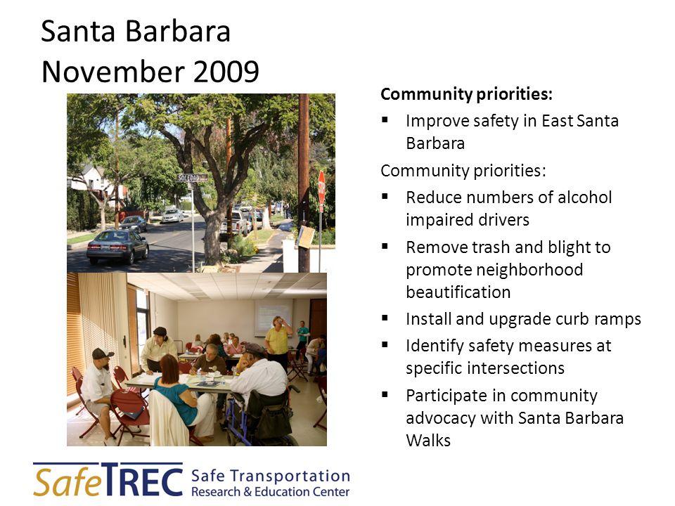 Santa Barbara November 2009 Community priorities:  Improve safety in East Santa Barbara Community priorities:  Reduce numbers of alcohol impaired dr