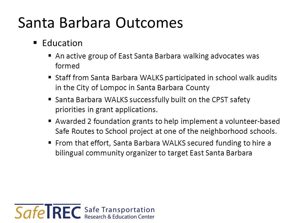Santa Barbara Outcomes  Education  An active group of East Santa Barbara walking advocates was formed  Staff from Santa Barbara WALKS participated