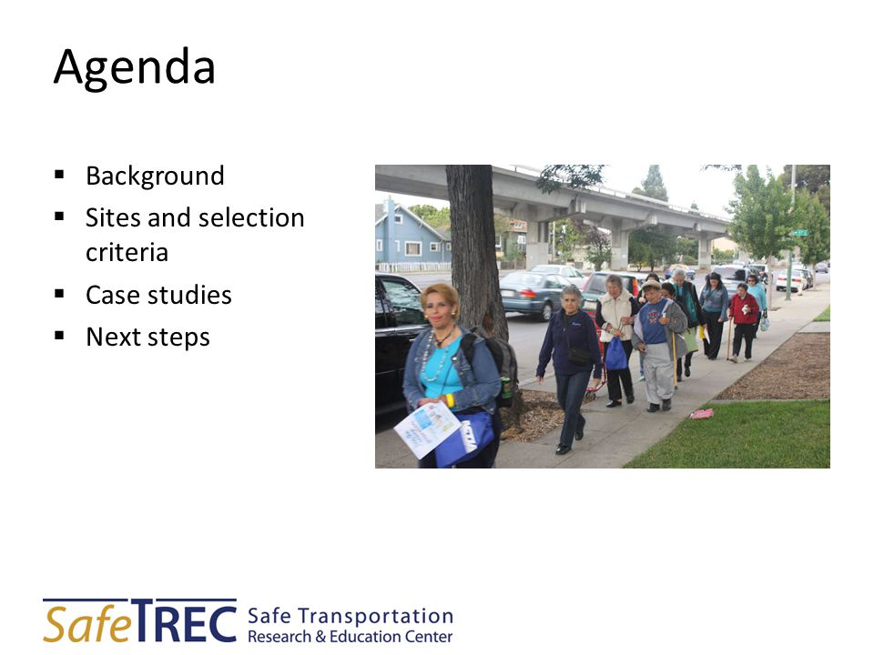 Agenda  Background  Sites and selection criteria  Case studies  Next steps