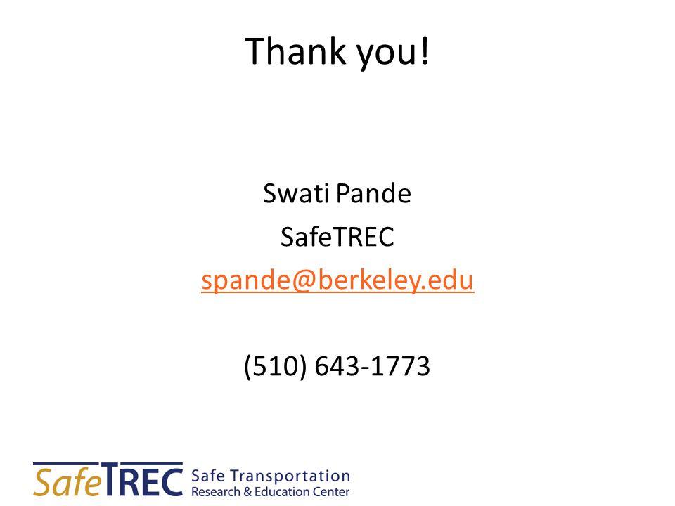 Thank you! Swati Pande SafeTREC spande@berkeley.edu (510) 643-1773