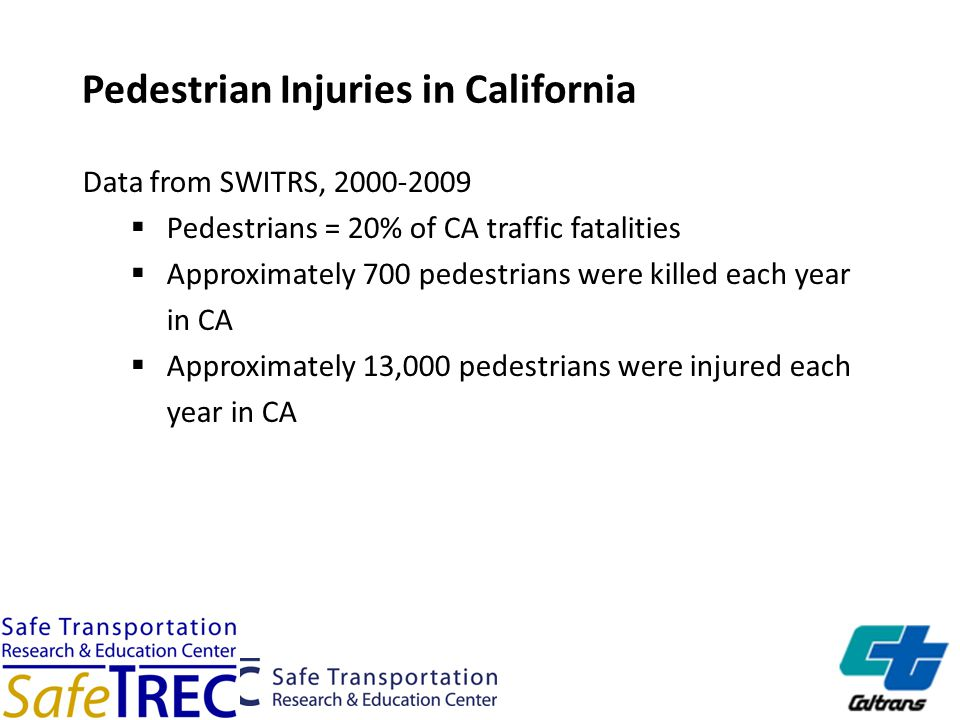 Pedestrian Injuries in California Data from SWITRS, 2000-2009  Pedestrians = 20% of CA traffic fatalities  Approximately 700 pedestrians were killed