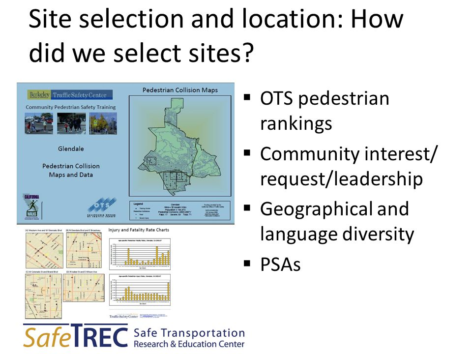 Site selection and location: How did we select sites?  OTS pedestrian rankings  Community interest/ request/leadership  Geographical and language d